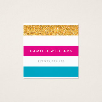 MODERN PATTERN stripe bright colorful gold glitter Square Business Card