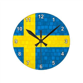 Modern Pattern Swedish Flag Round Wallclocks