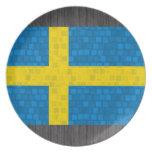 Modern Pattern Swedish Flag Party Plate