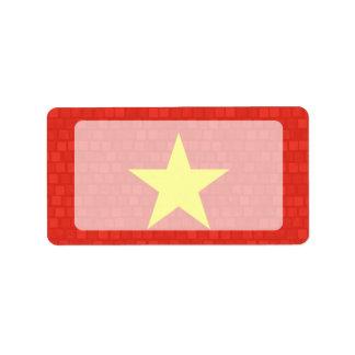 Modern Pattern Vietnamese Flag Personalized Address Label