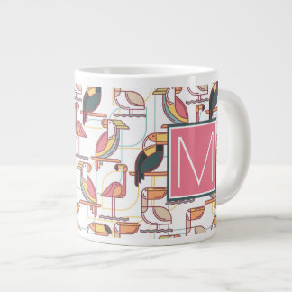 Modern Pattern With Tropical Birds | Monogram Giant Coffee Mug