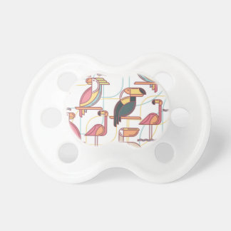 Modern Pattern With Tropical Birds Pacifier