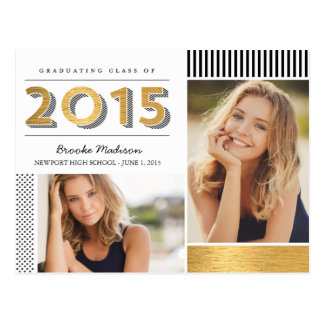 Modern Patterns Graduation Announcement Postcard