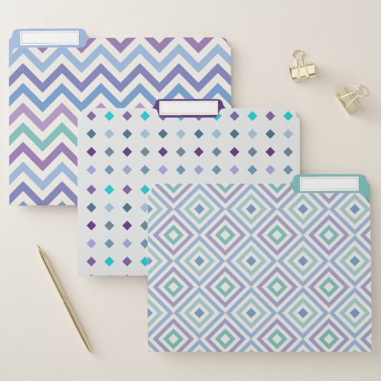 Modern Patterns in Purple Teal Blue Lavender Mint File Folder