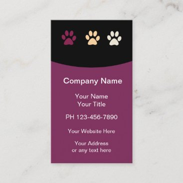 Modern Paw Prints Pet Care Business Card