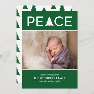 Modern Peace Custom Photo Holiday Tree Green White