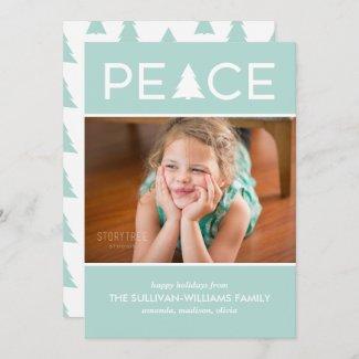Modern Peace Custom Photo Holiday Tree Mint Green