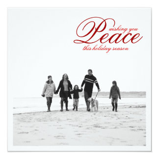 Modern Peace Holiday Photo Greeting Card