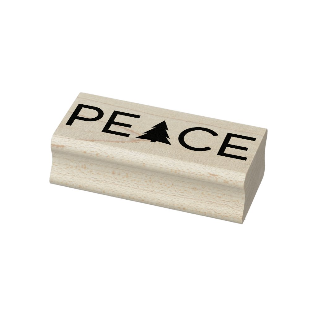 Modern Peace Holiday Tree Typography Rubber Stamp