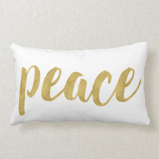 Modern Peace In Gold Festive Holiday Decorative Lumbar Pillow