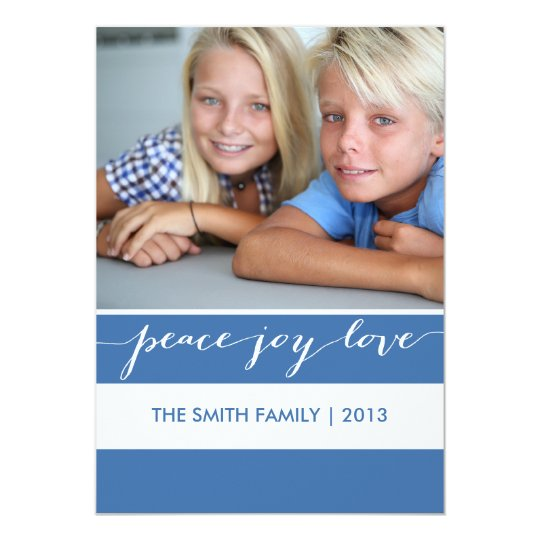 Modern Peace, Joy, Love Holiday Photo Card   Blue