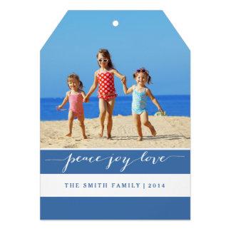 Modern Peace Joy Love Holiday Photo Card Blue