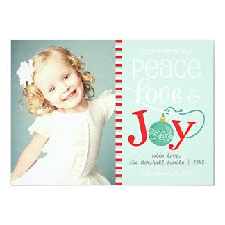 Modern Peace Love & Joy Christmas Photo Card