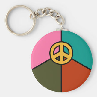 Modern Peace Sign Design, Solid Colors Keychain