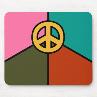 Modern Peace Sign Design, Solid Colors Mouse Pad