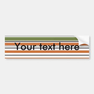 Modern peach and moss horizontal stripes car bumper sticker