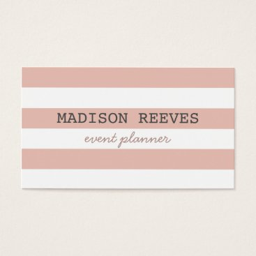 Professional Business Modern Peach and White Bold Stripes Business Card