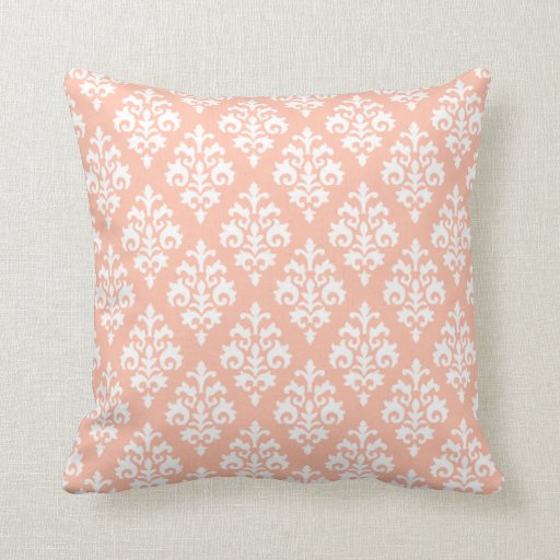 Modern Peach and White Damask Throw Pillow Zazzle