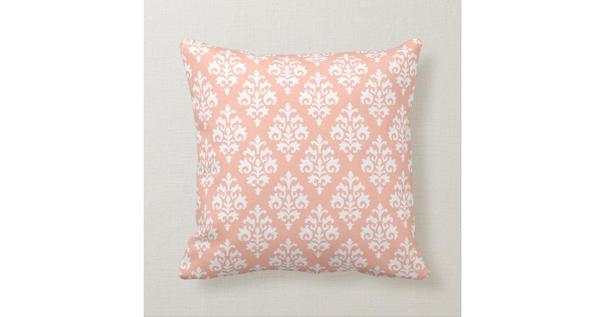 Modern Peach and White Damask Throw Pillow Zazzle