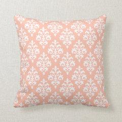 Modern Peach and White Damask Throw Pillow