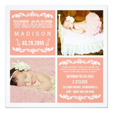 Toddler & Baby themed Modern Peach Baby Girl Sip & See Party Photo Cards