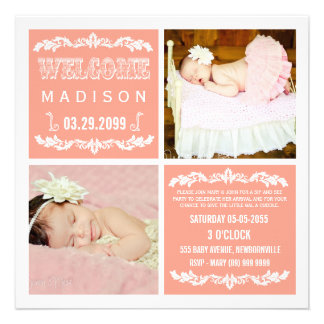 Modern Peach Baby Girl Sip See Party Photo Cards