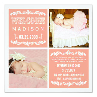 Modern Peach Baby Girl Sip & See Party Photo Cards