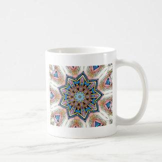 Modern Peach Blue Mandala Pattern Coffee Mug