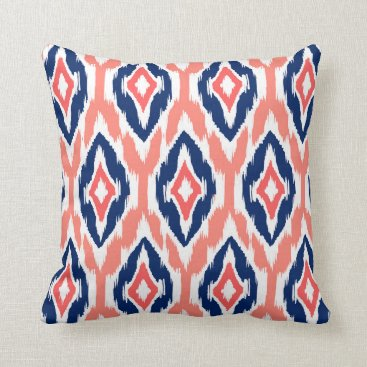 Aztec Themed Modern peach coral navy Ikat Tribal Pattern 1a Throw Pillow