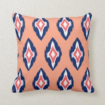 Aztec Themed Modern peach coral navy Ikat Tribal Pattern 1b Throw Pillow