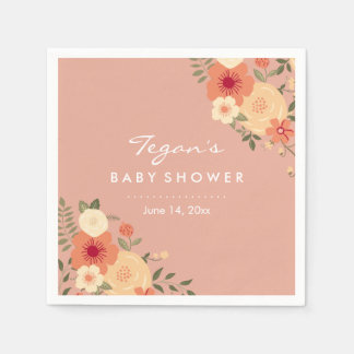 Modern Peach Floral Baby Shower Napkins