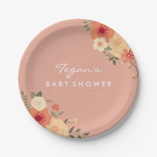 Modern Peach Floral Baby Shower Paper Plates