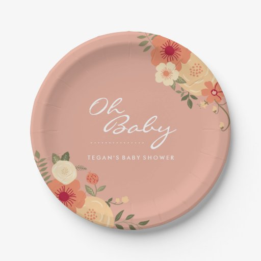 modern peach floral oh baby shower paper plates zazzle
