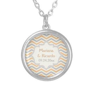 Modern peach, grey, ivory chevron pattern custom personalized necklace