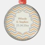 Modern peach, grey, ivory chevron pattern custom round metal christmas ornament
