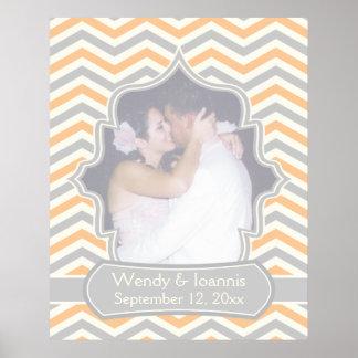 Modern peach, grey, ivory chevron wedding poster