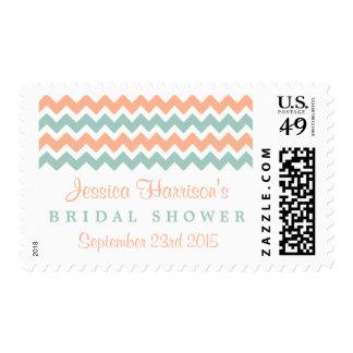 Modern Peach & Mint Chevron Bridal Shower Postage