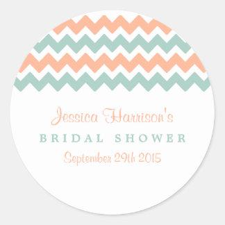 Modern Peach & Mint Chevron Bridal Shower Stickers