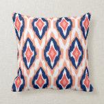 Modern peach navy coral Ikat Tribal Pattern 1a Pillows