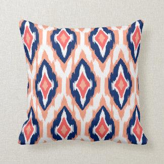 Modern peach navy coral Ikat Tribal Pattern 1a Throw Pillow