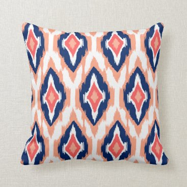 Aztec Themed Modern peach navy coral Ikat Tribal Pattern 1a Throw Pillow