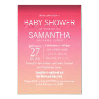 Modern Peach Summer Gradient Baby Shower Invites