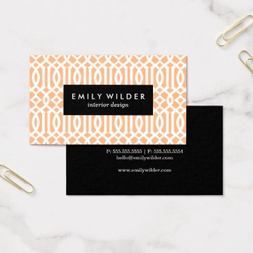 Professional Business Modern Peach Trellis Pattern Business Cards
