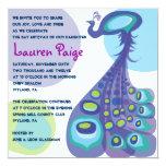 "Modern Peacock Bar Bat Mitzvah Invitation 5.25"" Square Invitation Card"