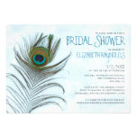 Modern Peacock Feather Bridal Shower Invitations Personalized Announcement