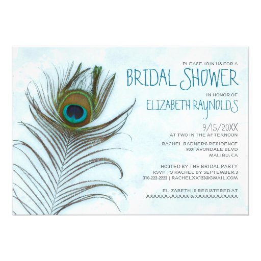 modern_peacock_feather_bridal_shower_invitations ...