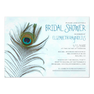 "Modern Peacock Feather Bridal Shower Invitations 5"" X 7"" Invitation Card"