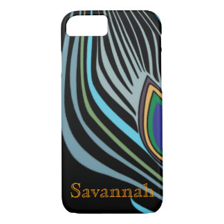 Modern Peacock Feather Personalized Damask iPhone iPhone 7 Case