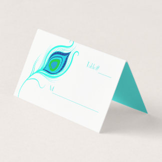 Modern Peacock Feather Wedding Folded Place Card