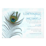 Modern Peacock Feather Wedding Invitations Announcements